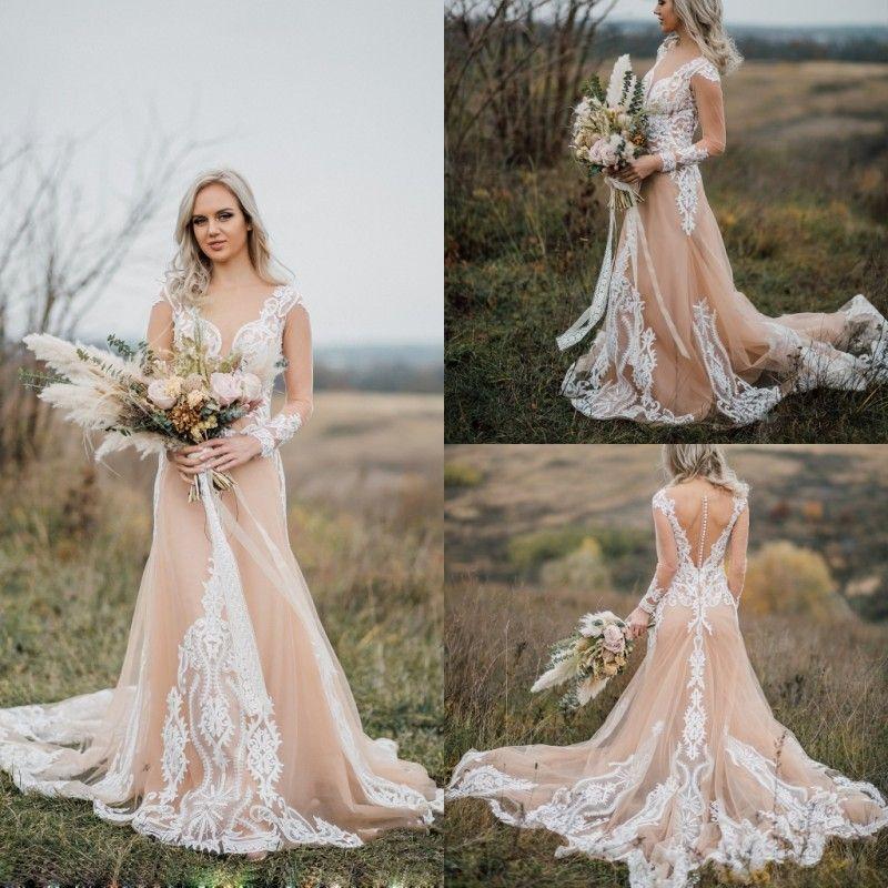 가든 비치 2019 새로운 웨딩 드레스 레이스 Appliqued 긴 소매 Appliqued Bridal 가운 Boho Tulle 라인 웨딩 드레스 Robe De Mariéee