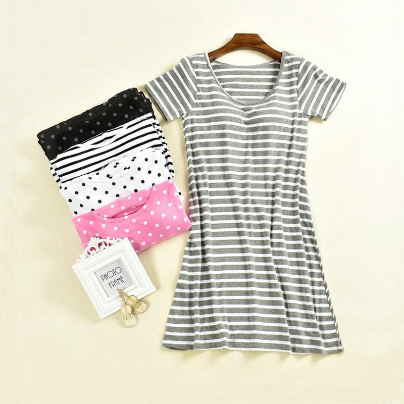 Feminino sleepwear cinto pad feminino sutiã copo um pedaço de algodão solto casual casual manga de manga curta camisola m-xxl
