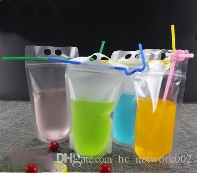 Fedex / DHL Drink мешочки Сумки матового Zipper Стоячего Пластиковые выпивая мешок с соломой с держателем Многократно закрывающимся жаропрочной 17oz