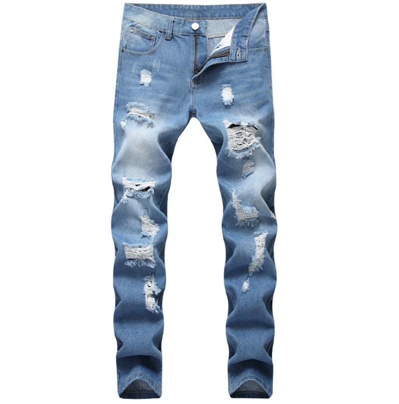 American Style Jeans europeo di lusso degli uomini pantaloni in denim dritto cerniera Patchwork Slim blue jeans del foro per gli uomini