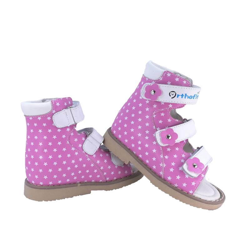 Toddles Girls Arch Support Genuine Leather Sandals Kids Orthopedic High-top Shoes with Cute Star Dot for Decoration Sandle