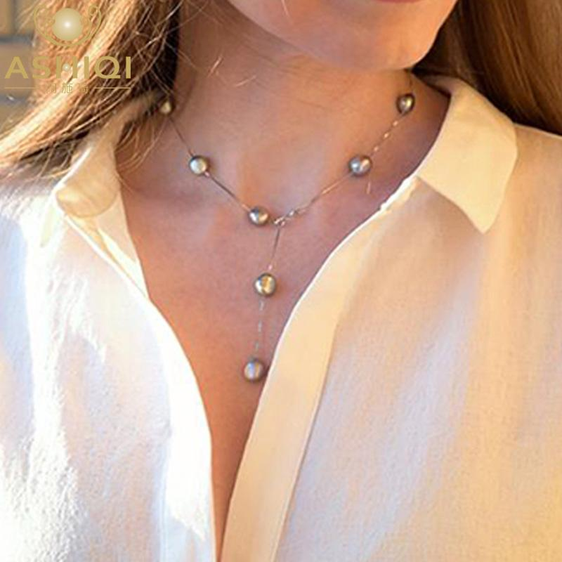 ASHIQI Reale Puro 925 Sterling Silver Collana Del Pendente Della Catena Per Le Donne 8-9mm Bianco Grigio D'Acqua Dolce Naturale barocco Gioielli di perle