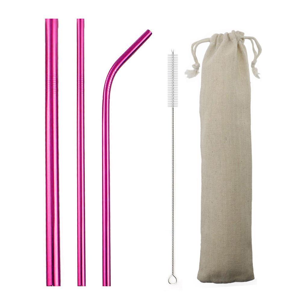 5pcs Regenbogen wiederverwendbare Strohhalme 304 Edelstahl-Metall Straw Metall Smoothies Glaskasten Strohhalm Set mit Pinseltasche Großhandel