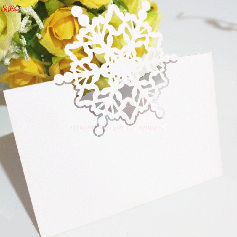 10 개 스노우 플레이크 좌석 테이블 장소 카드 이름 카드 파티 장식 레이저 컷 게스트 카드 크리스마스 파티 장식 종이 호의 6z