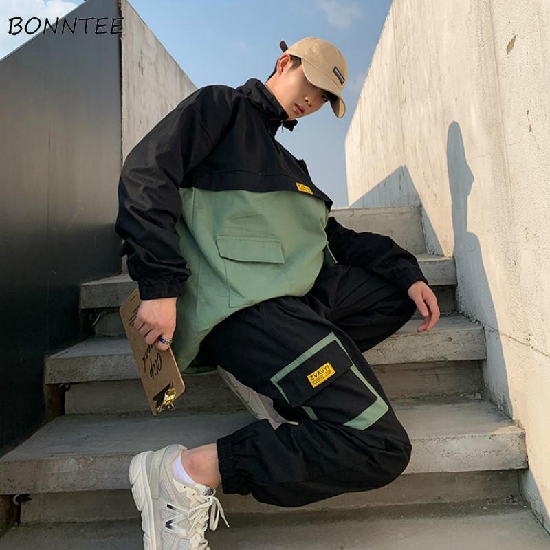 Coupe-Vent Nouveau Printemps Vert Vestes Hommes Streetwear Lâche Kpop Harajuku Patchwork Pardessus Hommes Poches Bomber Pulls Casual