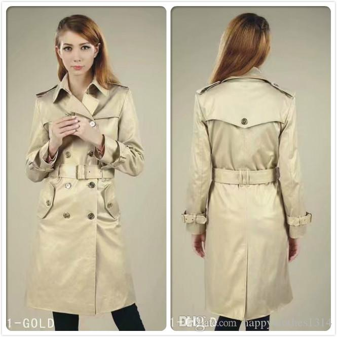 Hot Sales Classic Winter Trench Coat Spring Fall Women's Double Breasted Outerwear Coats Fashion Office Business Lady Slim Fit Trench Coats
