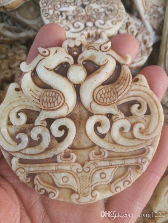 Artículos de jade antiguo chino Talla de jade antiguo dos fénix geománticos colgante