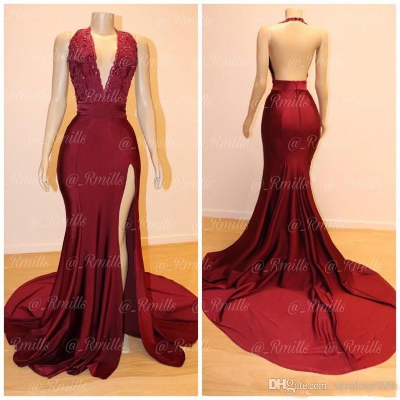 Sexy Mermaid Burgundy Prom Dresses 2019 Halter Neck Open Back Split Formal Evening Gowns Bead Lace Black Girls Prom Party Dress