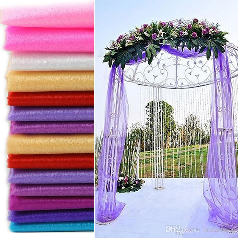5 Meters Long Wedding Backdrop Swag Party Curtain Celebration Stage Performance Background Drape Chiffon Colorful Organza Wedding Accessory