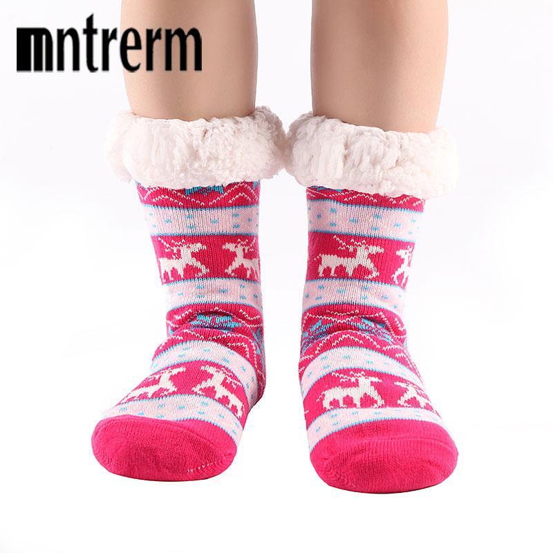 Mntrerm Nylon gefüttert Frauen Indoor-Socken-Layer Skid Start Reindeer Dual-Stab Marke Weihnachten Winter warme weiche Slipper