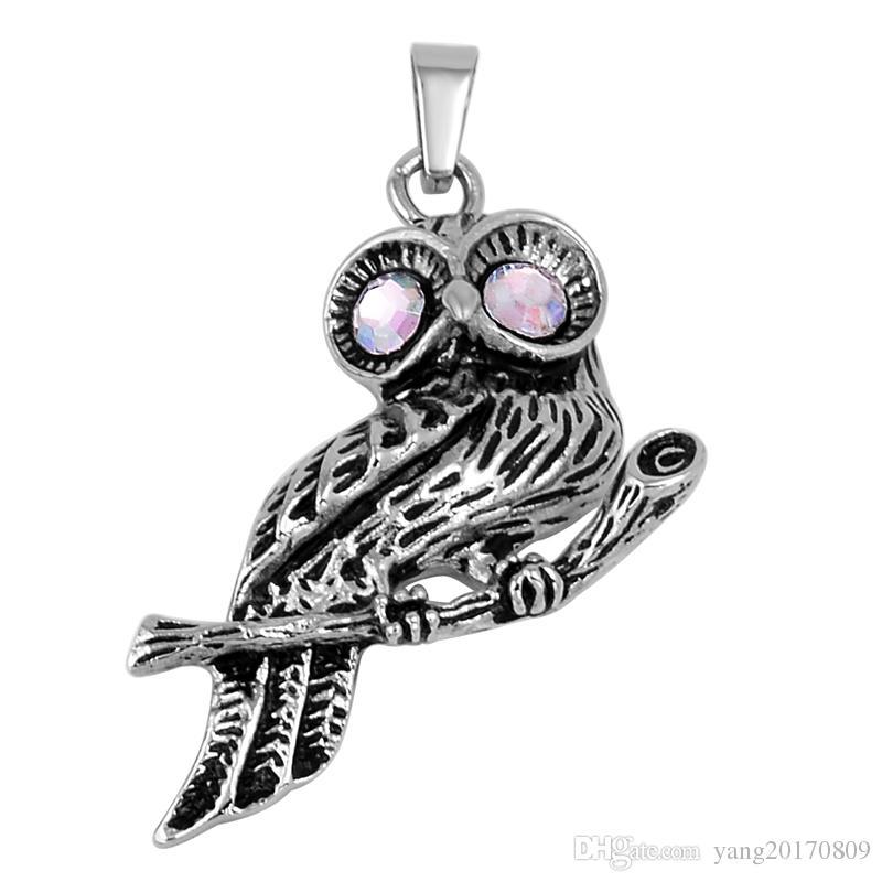 Joyería de acero inoxidable Crystal Eye Owl Memorial Cremation for Cenizas urna recuerdo colgante collar con cadena JEwelry IJD9757