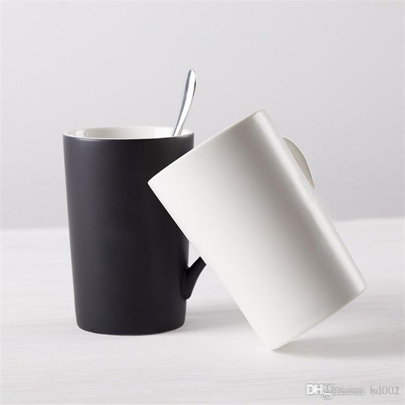 Bicchieri in ceramica colore puro amanti tazza di acqua glassato tazze da caffè regalo originalità bicchiere da cocktail cucchiaio cucchiaio vestito di san valentino in porcellana 7 8dyC1