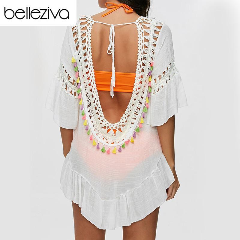 Belleziva Women Sexy Colored Tassel See-through Crochet Tunic Beach Cover Up Swimwear Summer Bikini Cover Up Swim Beach Dress Y19071801