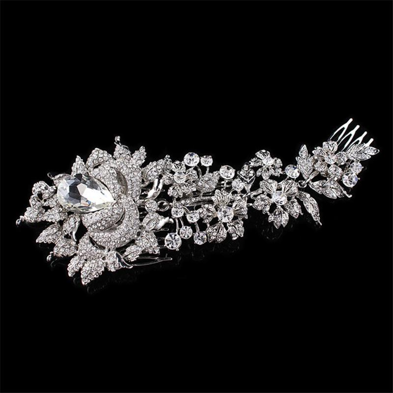 Kadınlar Charm Kristal Çiçek Gelin Saç Tarak Başkanı adet Saç iğneler headpieces için şık Düğün Saç Takı Aksesuar