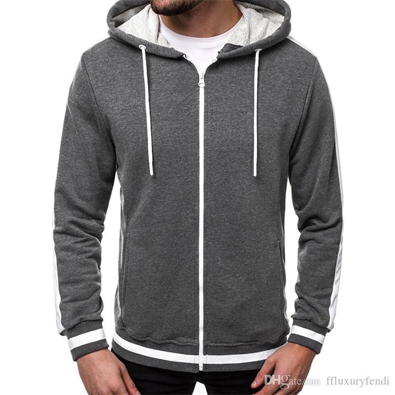 Mens Kontrastfarbe Dick Hoodies Herbst Teenager Pullover Reißverschluss Sweatshirts Mode Lose Streetwear Langarm Bekleidung