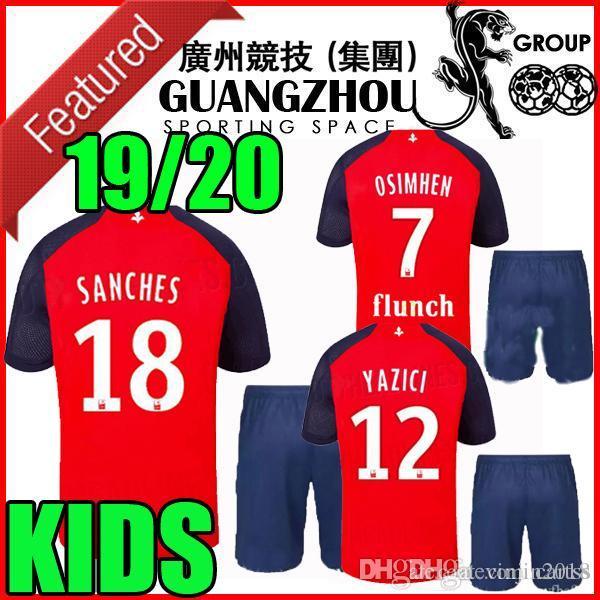 19 20 LOSC Lille kit de fútbol para niños camisetas local lejos tercera Sanches 2019 2020 maillot de foot OSIMHEN BAMBA YAZICI Camisetas de fútbol para niños Celik