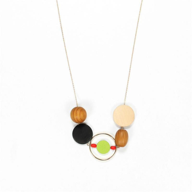 Vintage Wood Beads Necklace For Women Geometric Wooden Statement Necklaces & Pendants Long Chain collier femme Jewelry Collares