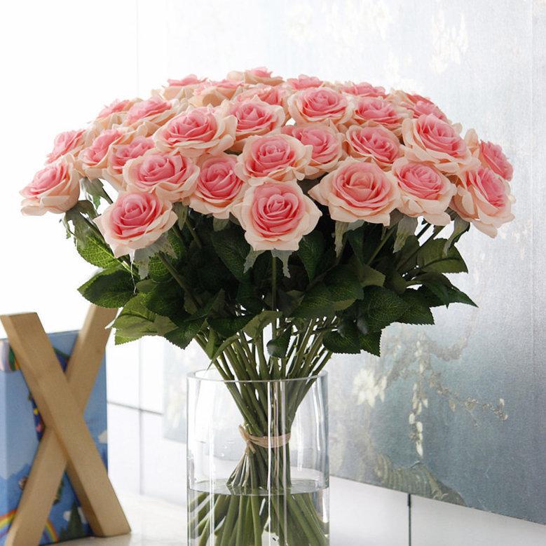 15 pcs Belle Français Rose Artificielle Fleur De Soie Diy Scrapbooking Home Decor Flores Décoration De Mariage Pas Cher Fleurs Guirlande