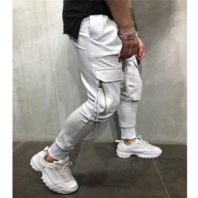 Mode-Männer Jogger Kordelzug Jogginghose Männer Reißverschlusstaschen Harem Pants Hip Hop Track Pants Hose Street Pantalones 3 #