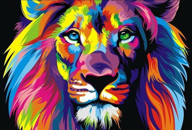 -.w-03081 Tier Lion Wohnkultur Top-handgemaltes Kunsthandwerk Kunst-Ölgemälde HD Druck-Kunst-Ölgemälde auf Leinwand Wandbildern