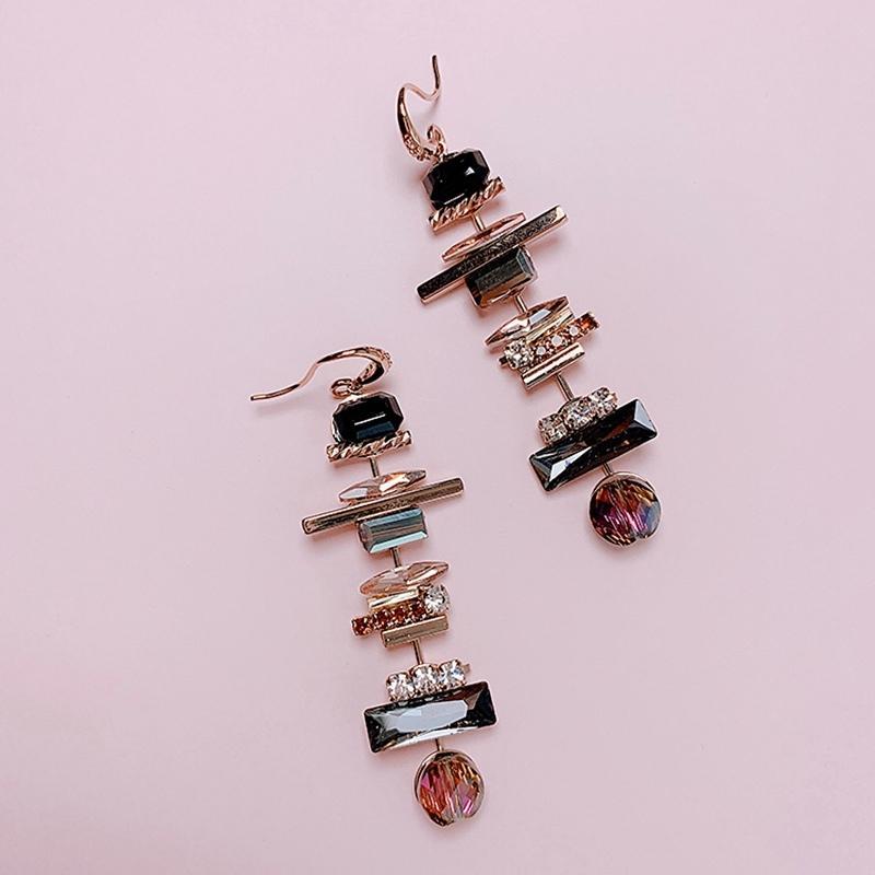 MENGJIQIAO neuer eleganter geometrischer Kristall langen Tropfen-Ohrringe für Frauen Students Mode Pendientes Partei Schmuck Geschenke