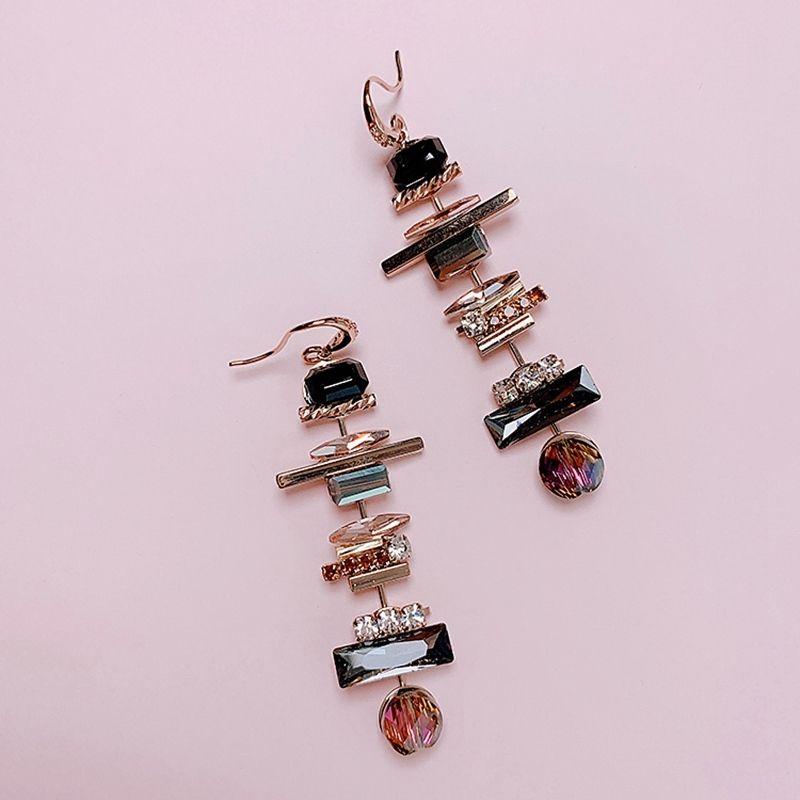 Regali gioielli lungo goccia MENGJIQIAO nuovo ed elegante geometrica orecchini a cristallo per le donne studenti di moda Pendientes partito