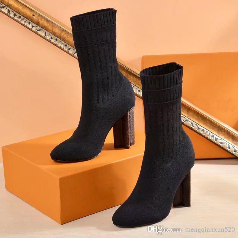 2020 chaussures sexy femme en automne et en hiver des bottes en tricot élastique design de luxe de bottes de bottes courtes Grande taille 35-42 chaussures à talons hauts