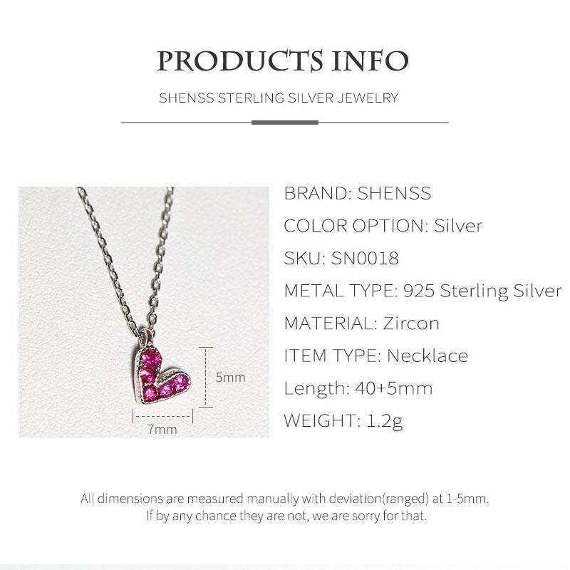 Fashion Purple Zircon Love Necklace S925 Sterling Silver Necklace Kolye for Women silver 925 jewelry