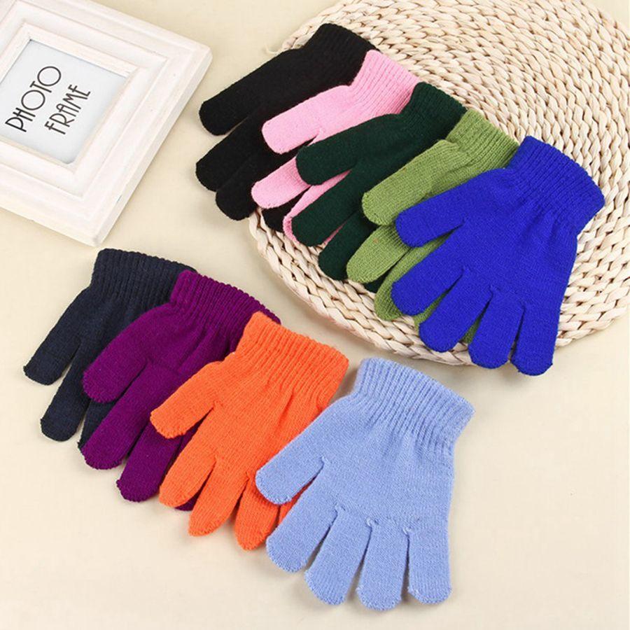Çocuk Kış Sihirli Eldiven Katı Şeker Renk Örme Eldiven Çocuklar Sıcak örme Parmak Streç Eldivenler Öğrenciler Açık Eldiven RRA1984