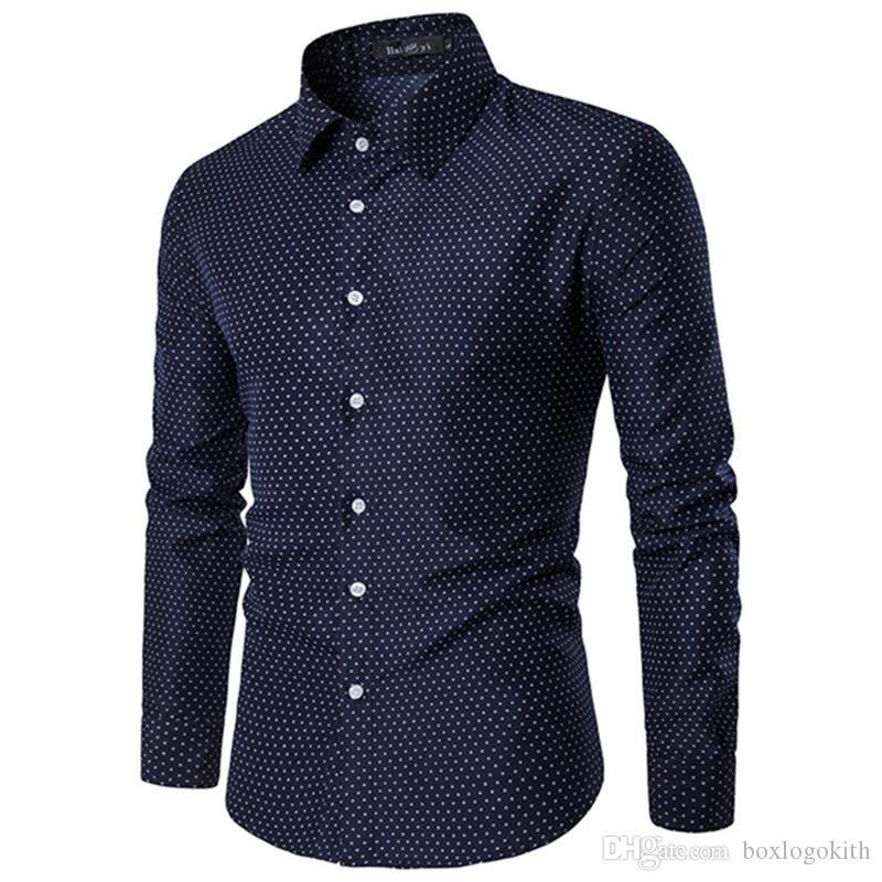 Mens Designer Long Sleeve Shirts Dot Printed Autumn Casual Slim Turn-down Collar Shirts Mens Fashion Shirts