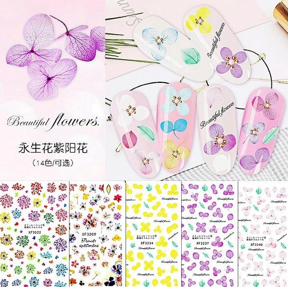 Mixed Nail Art Stickers Extra Sized 3D Self-Adhesive Flowers Decals for Women Girls Manicure DIY or Salon 14 Styles