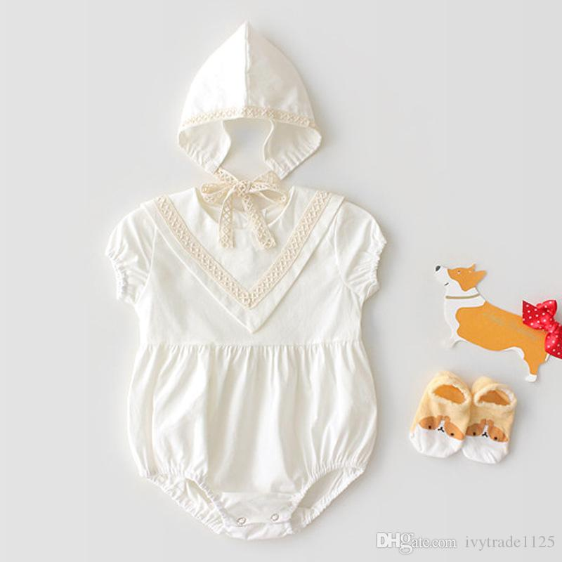 INS new baby kids climbing romper sleeveless Solid Color summer romper with hat high quality 100% cotton romper free ship