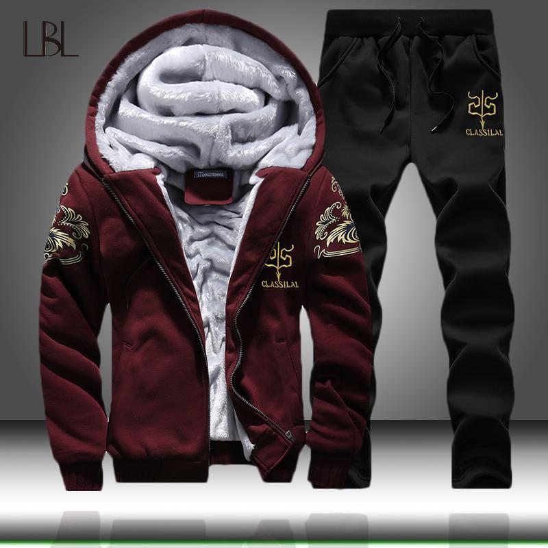 Winter Zipper Anzug Männer Hoodies Sport Herren VliesHoodie Tracksuits Männer beiläufige Jacken + Hosen Trainingsanzug Mann-Klagen