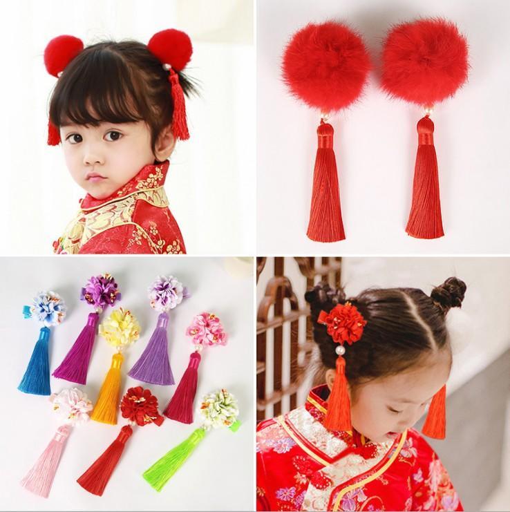 Детский лук узел головной убор китайского типа волос девушки аксессуары кисточка заколка ребенка костюм Hanfu традиционный стиль зажим для волос