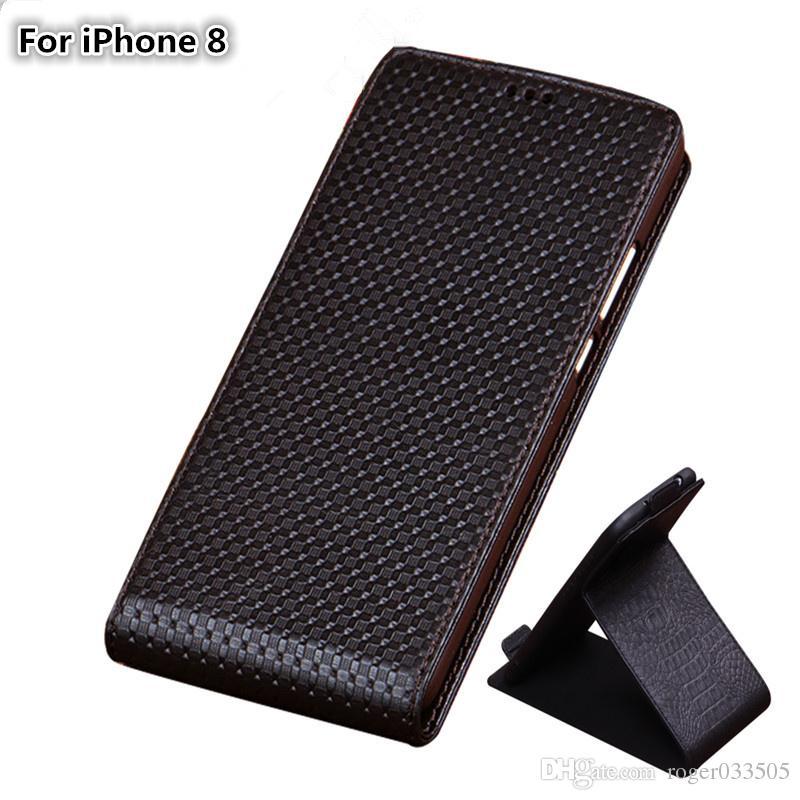 QX03 Luxury Genuine Leather Vertical Flip Phone Case For iPhone 8 Case For iPhone 8 Vertical Flip Case Kickstand