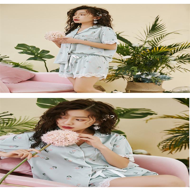 Hielo seda pijama de manga corta gira el collar abajo respirable de seda del hielo del sueño fija los juegos media pantorrilla Homewear del sueño