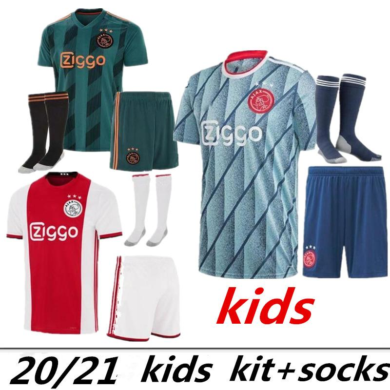 Kind Thai Qualität 2020 2021 Ajax FC Kinder Kits + Socken Fußball-Trikot 20 21 KLAASSEN FISCHEA Bazoer MILIK Uniformen Shirt Baby Ajax FC Fußball