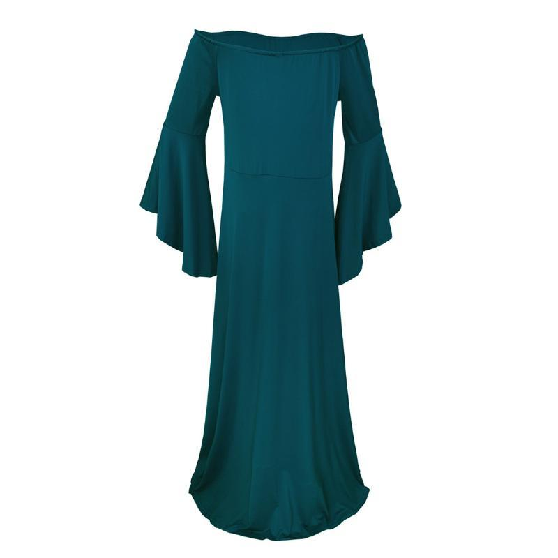 Polyester For Pregnant Elastic Loose Flare Sleeve Solid Summer Off Shoulder Party Long Large Hem Maxi Women Dress