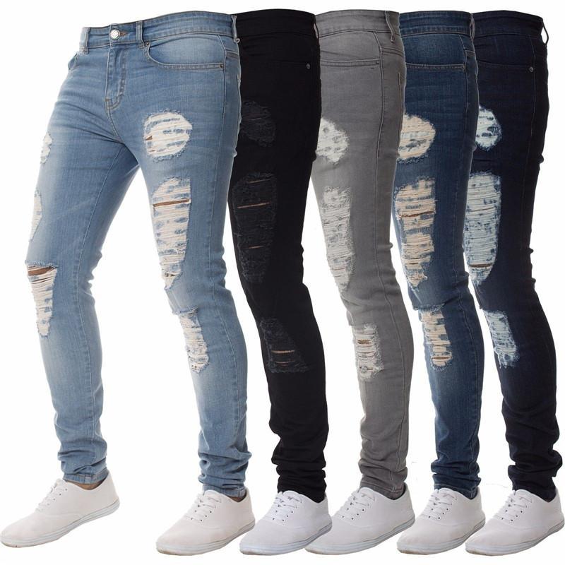 Gli uomini casuali Biker jeans del denim Pantaloni Blu Nero Moda a lungo Magro foro Jeans slim fit