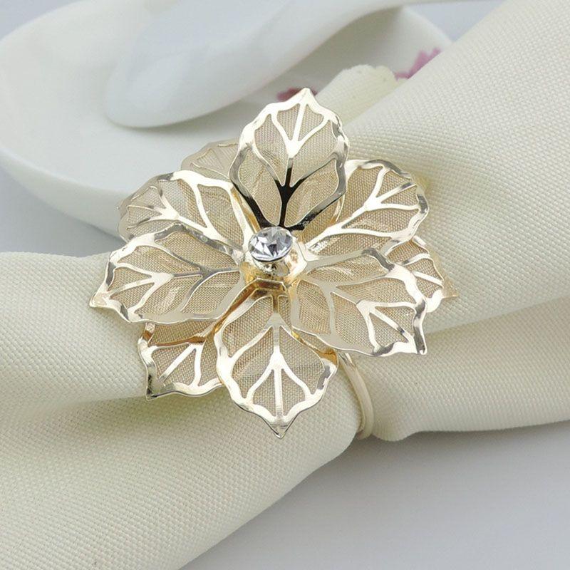 Мода салфетка кольца высококлассные Кристалл Золотой цветок горный хрусталь свадьба салфетка кольцо Главная отель красивый стол украшения HH7-1961