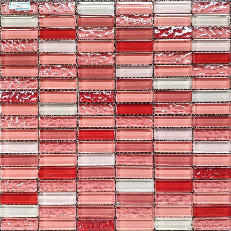 Strip red pink white glass mosaic kitchen backsplash tile JMFGT059 crystal glass wall tile bathroom