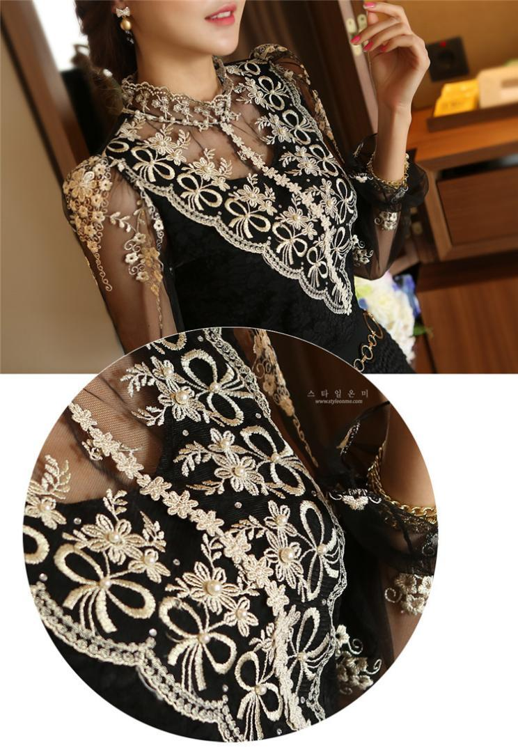 Fashion Spring long sleeve Women shirts lace blouse shirt Slim Elegant Plus size sexy hollow lace shirt women tops