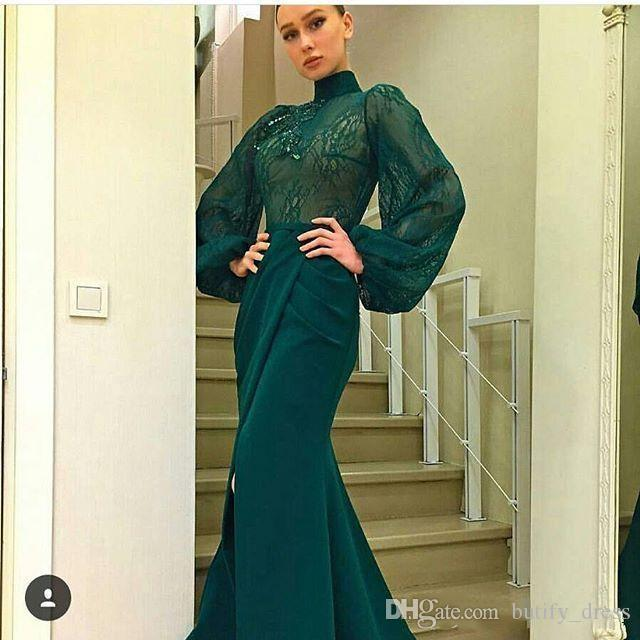 2019 Dark Green Long Sleeve Prom Dresses High Neck Lace Chiffon Mermaid Front Split Dubai Style Arabic Formal Evening Dresses