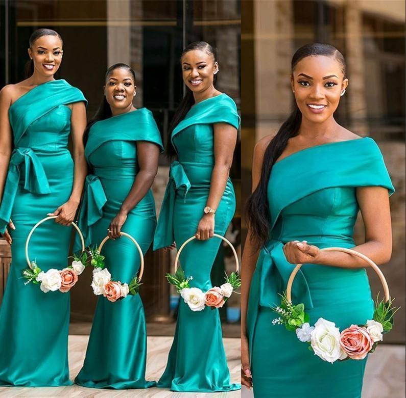 Hunter African One Shoulder Mermaid Long Bridesmaid Dresses 2020 Elegant Pleats Peplum Plus Size Wedding Guest Maid of Honor Gowns BM1914