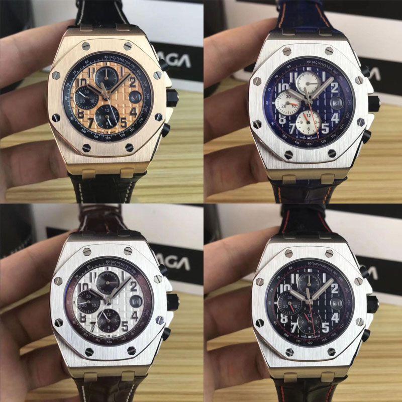 2019 venta caliente reloj de lujo para hombre reloj de cuarzo 42 mm de alta calidad VK reloj deportivo para hombre impermeable 30 M relojes moda diseñador banda de cuero