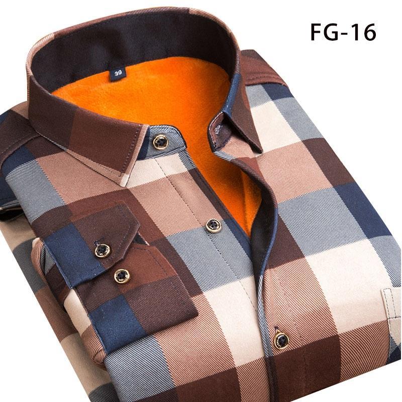Aoliwen Kış sıcak gömlek artı kadife kalınlaşma moda ekose gömlek uzun kollu erkek marka elbise gömlek sizeL-5XL yazdırmak