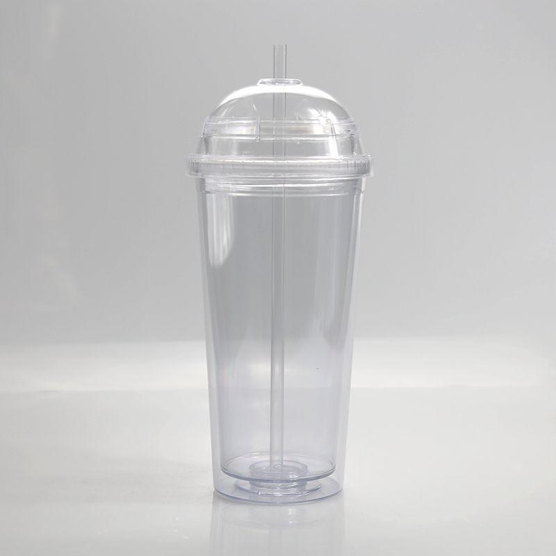 20 oz vaso de acrílico con tapa de domo, más paja de doble pared con aislamiento de plástico transparente Vasos Vasos viajes vasos reutilizables con paja 2020new