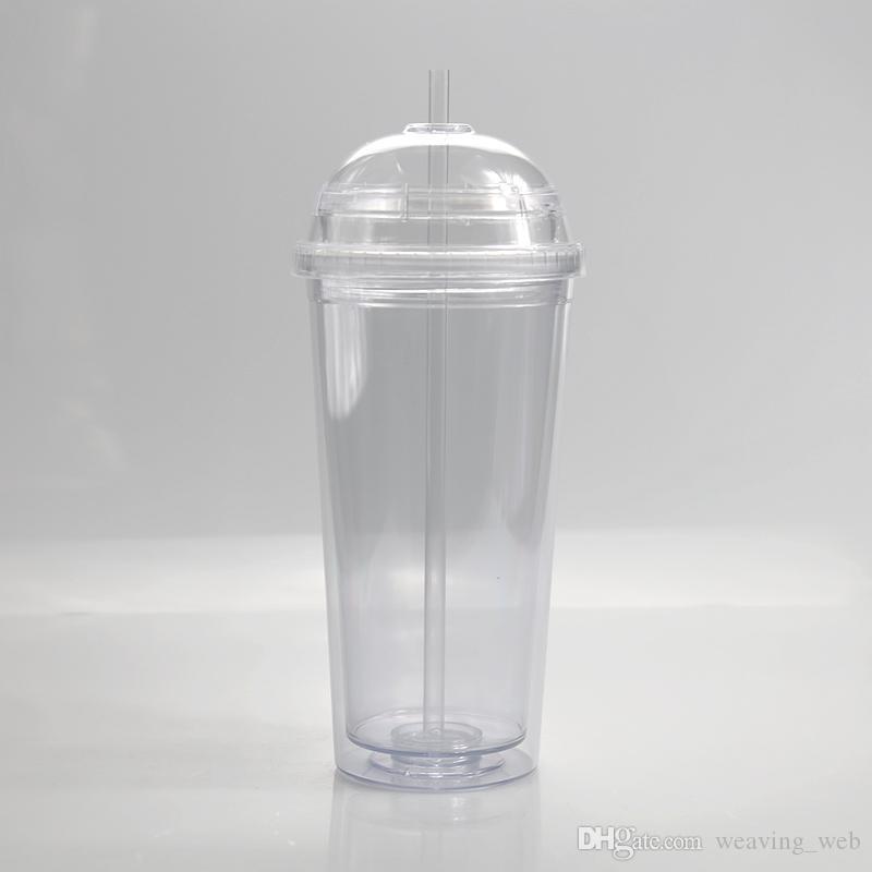 20 oz Plastic Plus Tapa Cúpula con con la pared de acrílico de la paja Tumblers transparentes Tumblers Viajes aislados Copas de paja reutilizables Doble 202 Omht