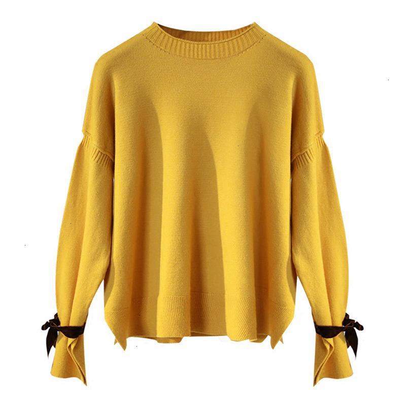 Moda-R o Las mujeres de cuello pajarita Hasta suéter de Split lateral suéter dulce primavera suéter de punto flojo de la llamarada de la manga