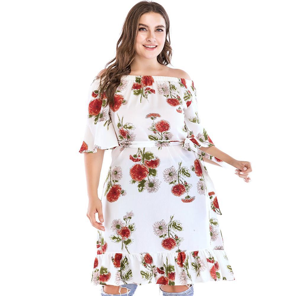 Fashion Women Plus Size Summer Dress 2019 Off Shoulder Dress Floral Print  Short Sleeve Tie Waist Summer Oversized Midi Dress Sun Dresses Online Party  ...